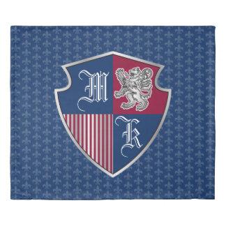 Silver Lion Coat of Arms Monogram Emblem Shield Duvet Cover