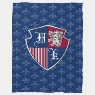 Silver Lion Coat of Arms Monogram Emblem Shield Fleece Blanket