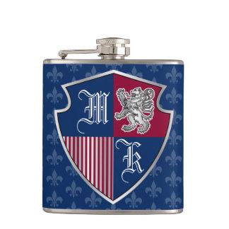 Silver Lion Coat of Arms Monogram Emblem Shield Hip Flask