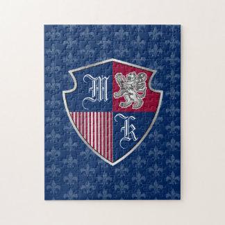 Silver Lion Coat of Arms Monogram Emblem Shield Jigsaw Puzzle