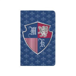 Silver Lion Coat of Arms Monogram Emblem Shield Journal