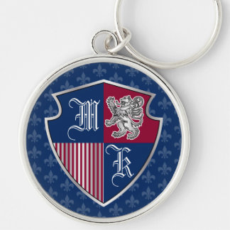 Silver Lion Coat of Arms Monogram Emblem Shield Keychain