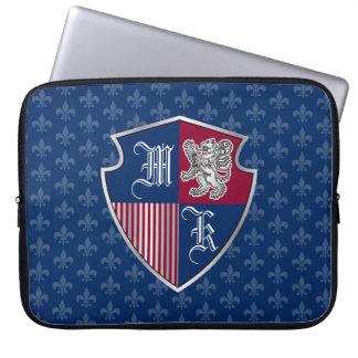 Silver Lion Coat of Arms Monogram Emblem Shield Laptop Sleeve