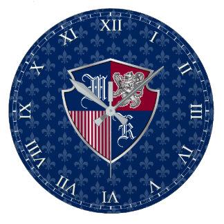 Silver Lion Coat of Arms Monogram Emblem Shield Large Clock