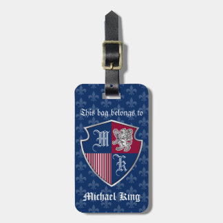 Silver Lion Coat of Arms Monogram Emblem Shield Luggage Tag