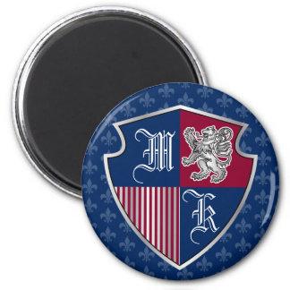 Silver Lion Coat of Arms Monogram Emblem Shield Magnet