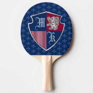 Silver Lion Coat of Arms Monogram Emblem Shield Ping Pong Paddle
