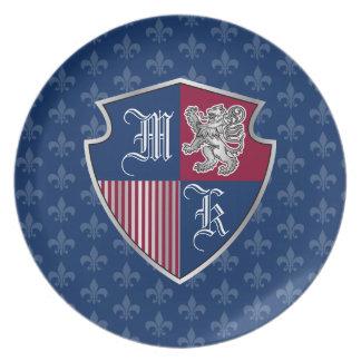 Silver Lion Coat of Arms Monogram Emblem Shield Plate