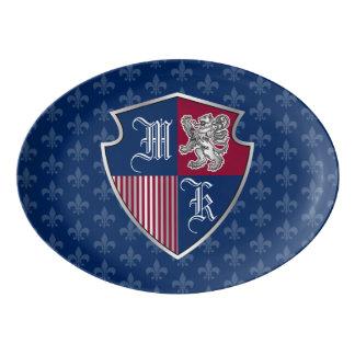 Silver Lion Coat of Arms Monogram Emblem Shield Porcelain Serving Platter