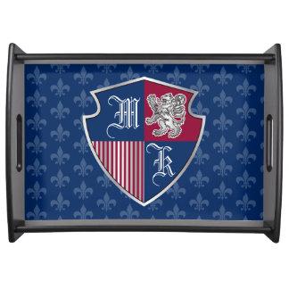 Silver Lion Coat of Arms Monogram Emblem Shield Serving Tray