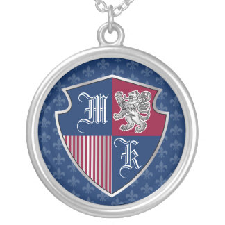 Silver Lion Coat of Arms Monogram Emblem Shield Silver Plated Necklace