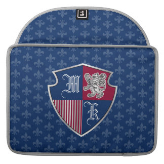 Silver Lion Coat of Arms Monogram Emblem Shield Sleeve For MacBooks