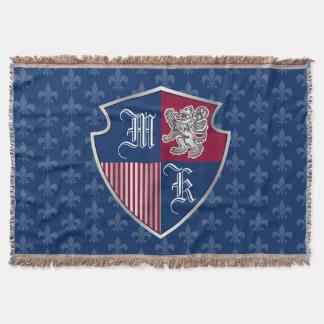 Silver Lion Coat of Arms Monogram Emblem Shield Throw Blanket