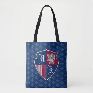 Silver Lion Coat of Arms Monogram Emblem Shield Tote Bag