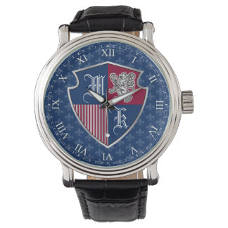 Silver Lion Coat of Arms Monogram Emblem Shield Watch