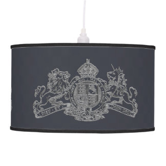 Silver Lion & Unicorn British Coat of Arms Grey Pendant Lamp