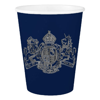 Silver Lion Unicorn British Coat of Arms Navy Blu Paper Cup