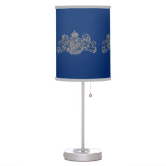 Silver Lion & Unicorn British Coat of Arms on Blue Table Lamp