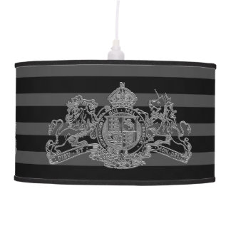 Silver Lion & Unicorn British Coat of Arms Striped Pendant Lamp