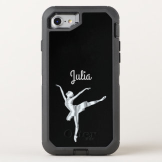 Silver look ballerina in black OtterBox defender iPhone 8/7 case