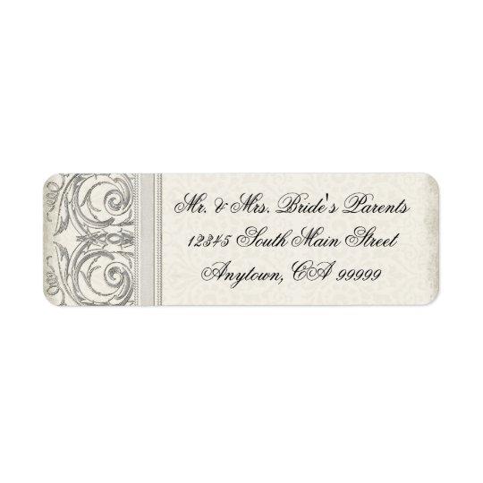 Silver Look Swirl Heart Elegant Wedding Address