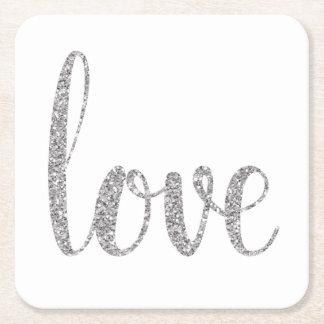 Silver love coasters, glitter, square square paper coaster