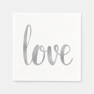 Silver love cocktail napkins paper napkins