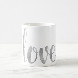 Silver love coffee mug, foil coffee mug