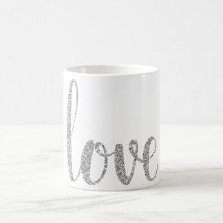 Silver love coffee mug, glitter coffee mug