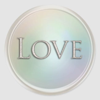 Silver Love Envelope Seal Round Sticker