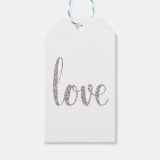 Silver love favor tags, glitter, vertical gift tags