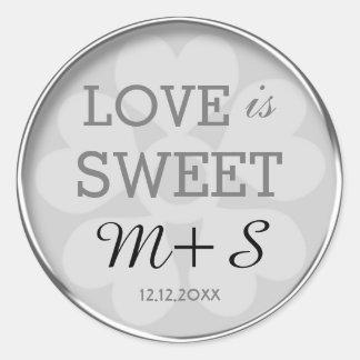 Silver Love Is Sweet Wedding Monogram Round Sticker