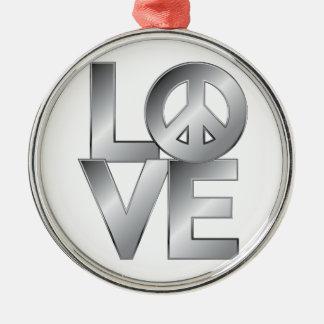 Silver LOVE=Peace Silver-Colored Round Ornament