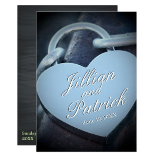 Silver Lovers Padlock Chain Link Wedding Card