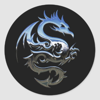 Silver Lucky Dragon Black Stickers