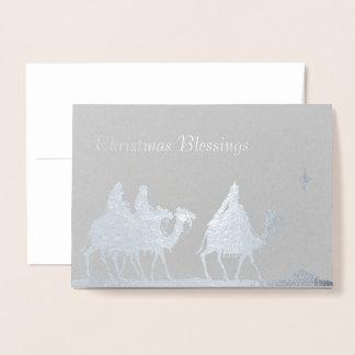 Silver Magi and Star Christmas Foil Card