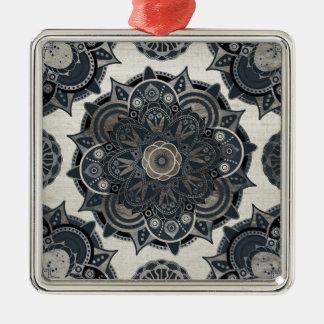Silver mandala Silver-Colored square ornament