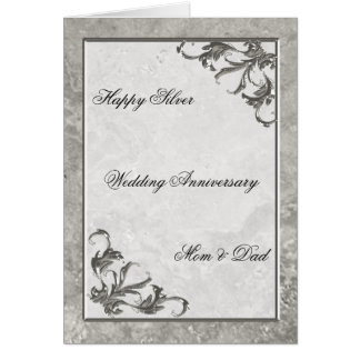 Silver Marble 25th Wedding Anniversary Card