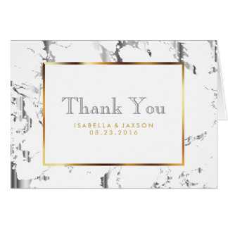Silver Marble, Gold and White   - Thank You Card