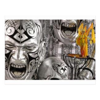Silver Mardi Gras Masquerade Postcard