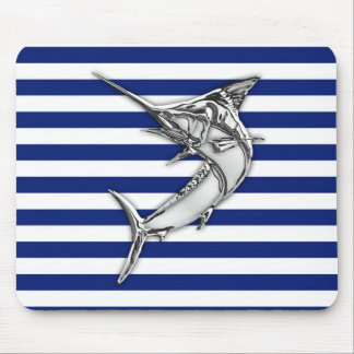 Silver Marlin Swordfish on Navy Stripes Mouse Pad