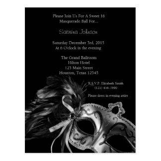 Silver Masquerade Ball Sweet Sixteen Birthday Postcard
