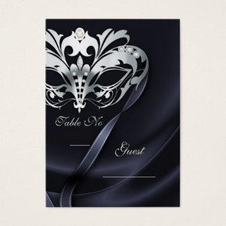 Silver Masquerade Black Jeweled Table PlaceCard Business Card