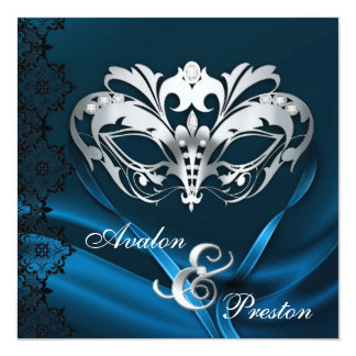 Silver Masquerade Blue Jeweled Wedding Invitation