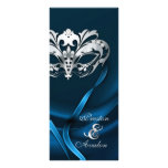 Silver Masquerade Blue Jewelled Wedding Program Rack Card Template