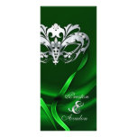 Silver Masquerade Green Jewelled Wedding Program Customized Rack Card
