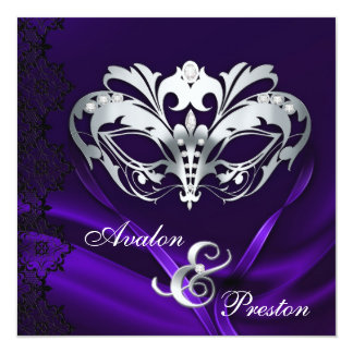 Silver Masquerade Purple Jeweled Wedding Card