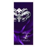 Silver Masquerade Purple Jewelled Wedding Program Custom Rack Cards