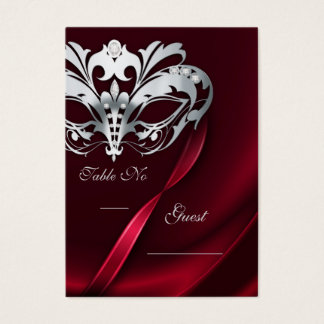 Silver Masquerade Red Jeweled Table PlaceCard Business Card