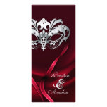 Silver Masquerade Red Jewelled Wedding Program Rack Cards